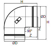 Diagram showing the dimensions of a 6 inch (168 milimeter) Transair 90 degree elbow.